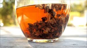 A brew of cascara in a clear cup.