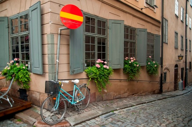 Building and bicycle in Stockholm.