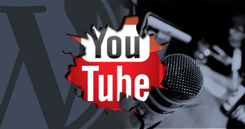YouTube logo witha podcast microphone, image courtesy of Club WordPress.