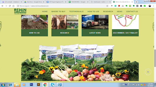 Screenshot of Remins (Scotland) Ltd Web page for Remins Volcanic Powder Rock.